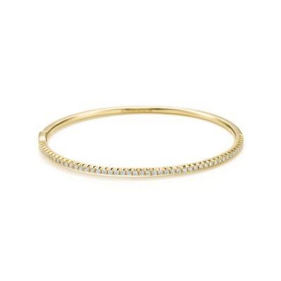 Tiffany Metro hinged bangle in 18k gold with diamonds medium
