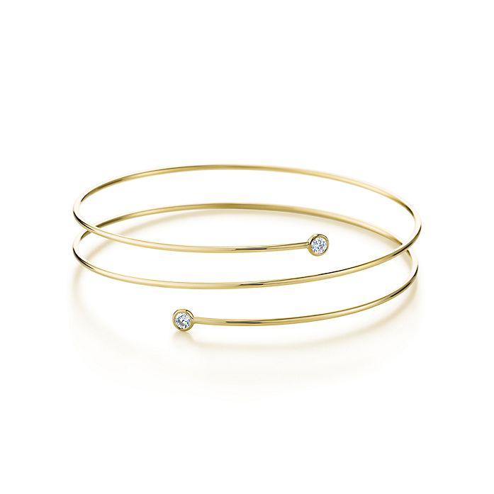 43994f517 Elsa Peretti® Diamond Hoop bracelet in 18k gold with diamonds, small ...