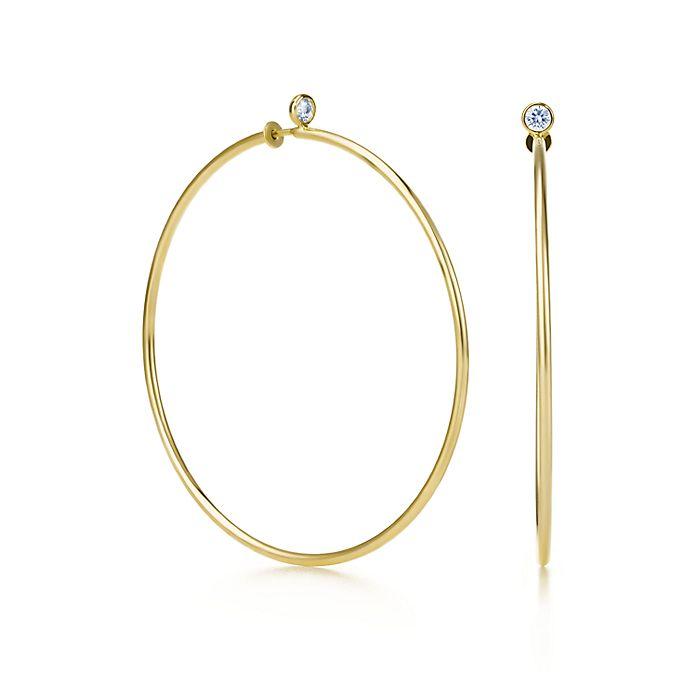 a7fe91182 Elsa Peretti® Diamond Hoop earrings in 18k gold with diamonds ...