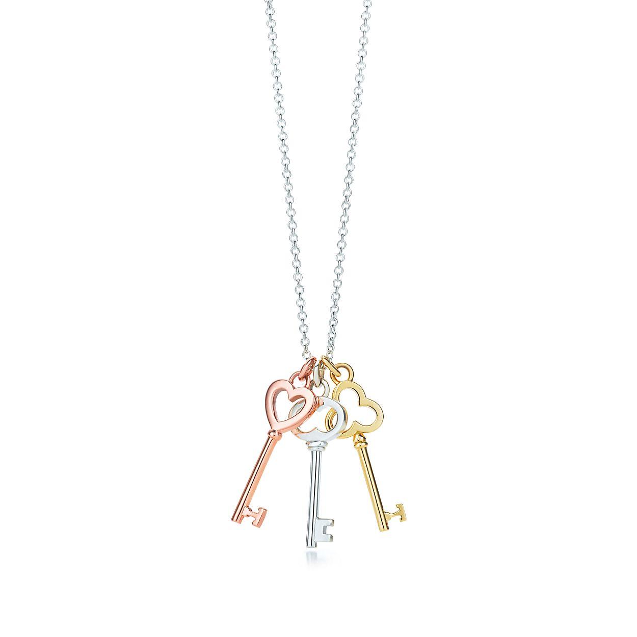 Tiffany keys mini three key pendant in silver and 18k rose and tiffany keysthree key pendant aloadofball Gallery
