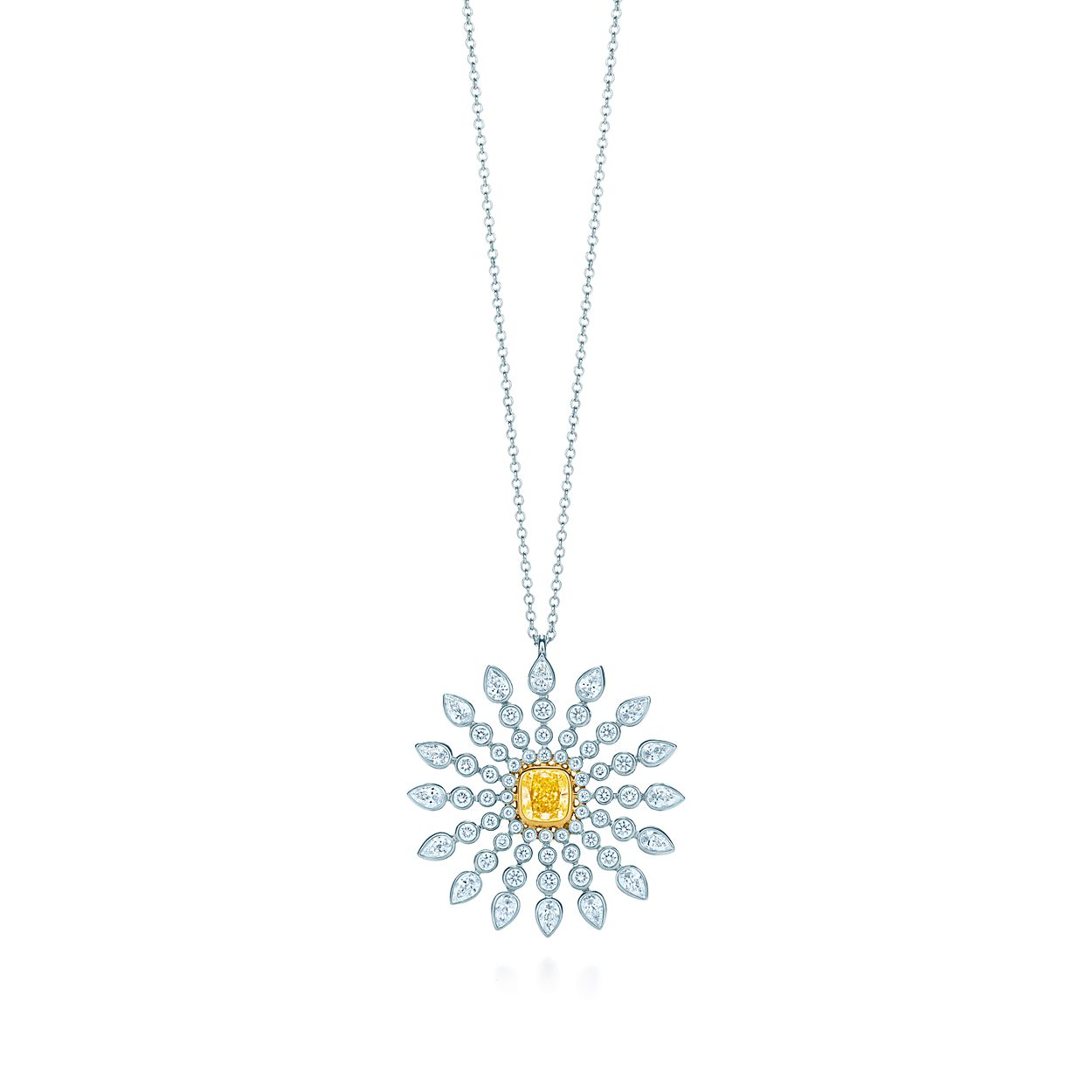 crystal long necklace detailed images sunburst gold view