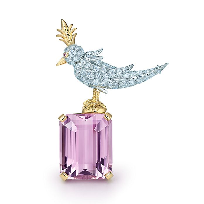 4e53378b5 Jean Schlumberger Bird On A Rock Clip in platinum and 18k gold with a  kunzite.| Tiffany & Co.