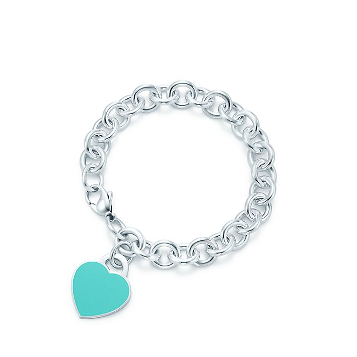 b2545e2c9 Return to Tiffany® heart tag in silver with enamel finish on a ...