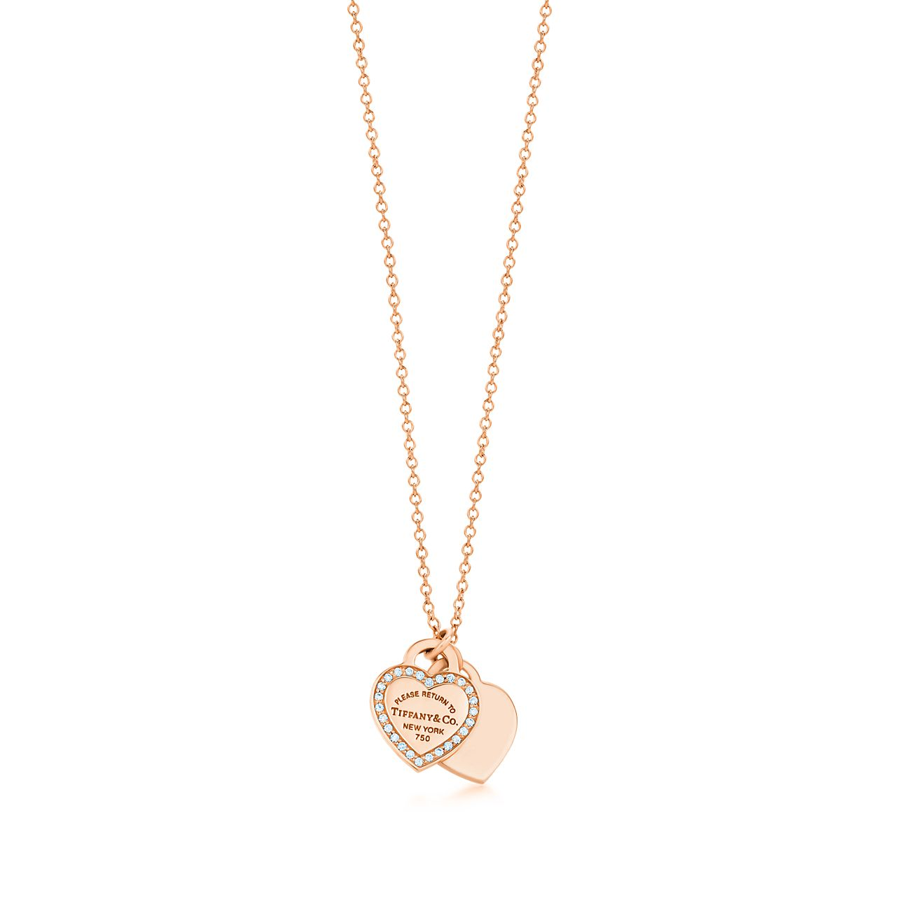 Tiffany Charms tag in 18k rose gold with a diamond, mini Tiffany & Co.