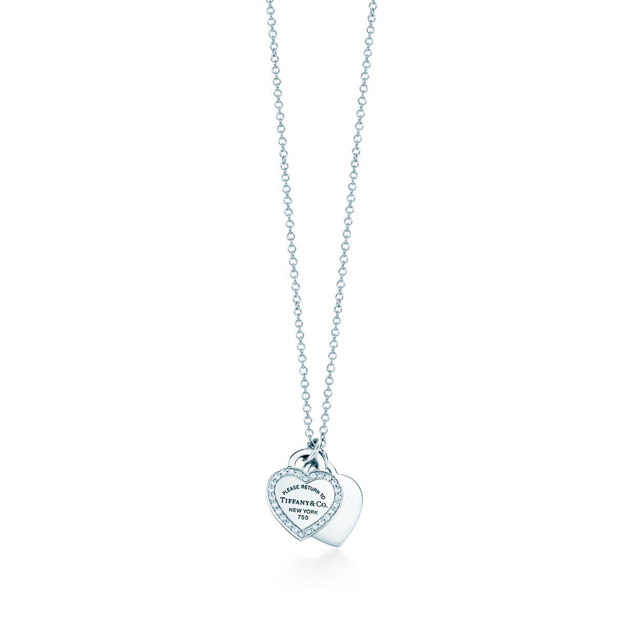 be458b7f52aefc Pendentif mini double Plaque cœur Return to Tiffany(MC), or blanc 18 ...