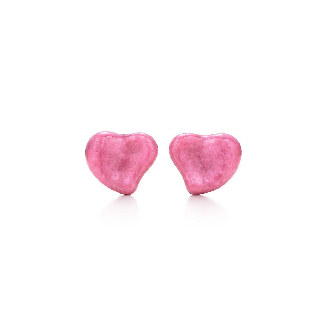 Elsa Peretti® Full Heart earrings in rhodonite, 10 mm wide ...