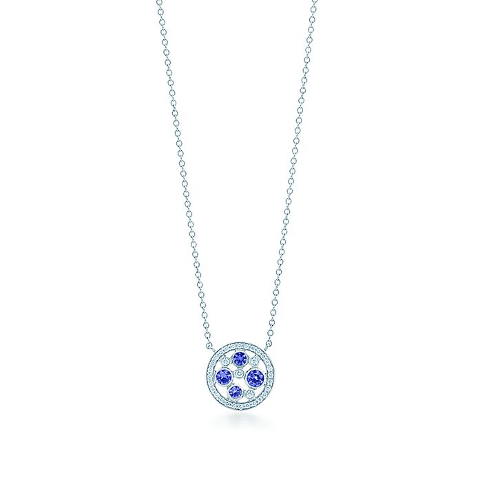 099951309 Tiffany Cobblestone pendant in platinum with Montana sapphires ...