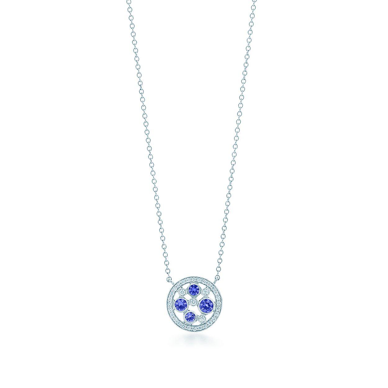 5ed6098c8 Tiffany Cobblestone Pendant In Platinum With Montana Sapphires