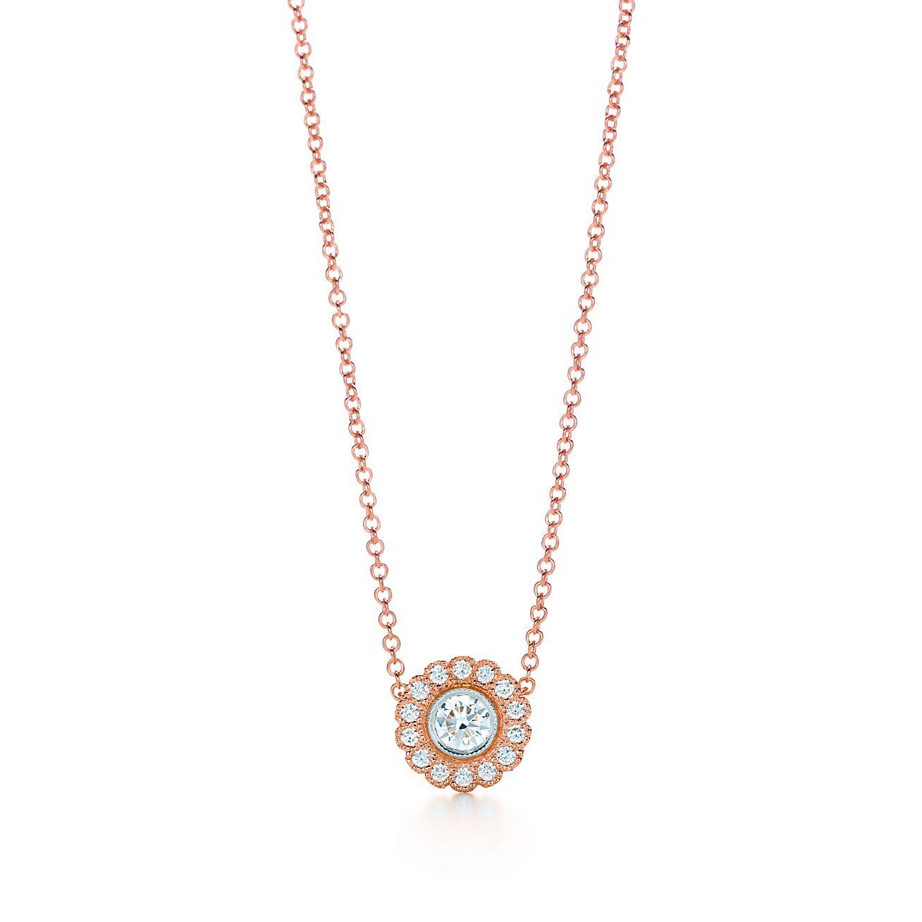 Tiffany enchant flower pendant in 18k rose gold and platinum with tiffany enchantflower pendant aloadofball Gallery