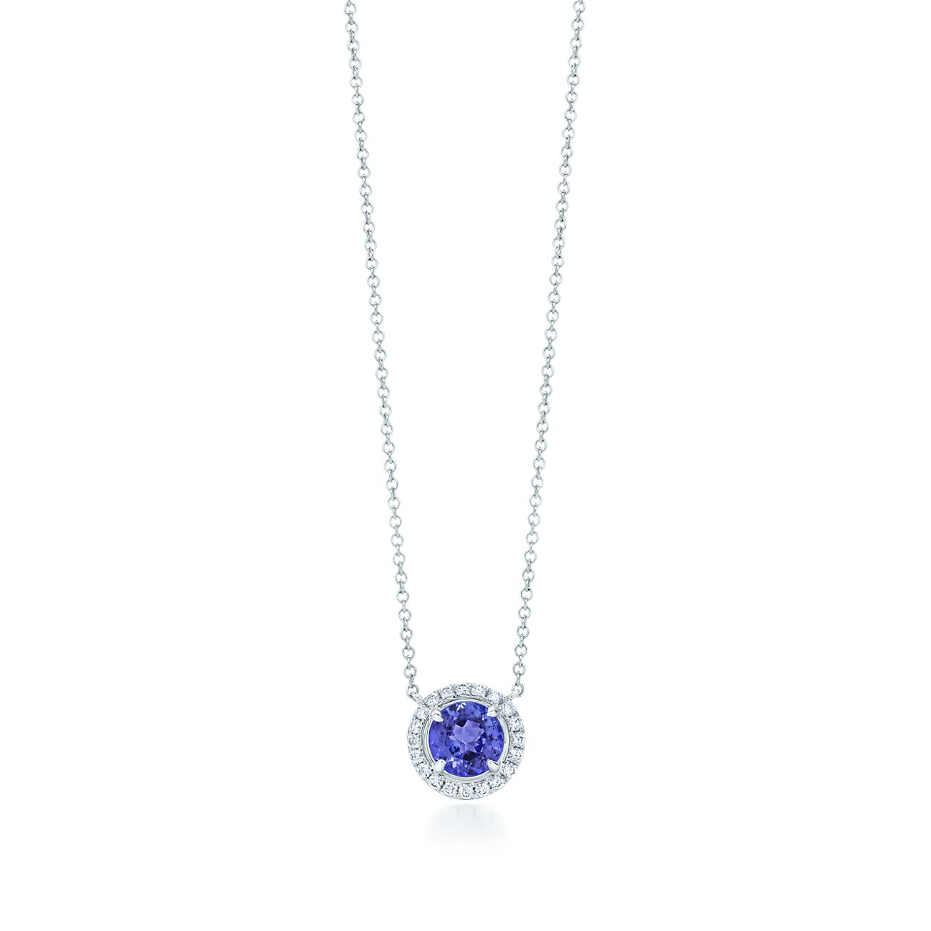 d50647582 Tiffany Soleste Pendant In Platinum With A Round Tanzanite. Centering An  Oval Shaped Sapphire ...