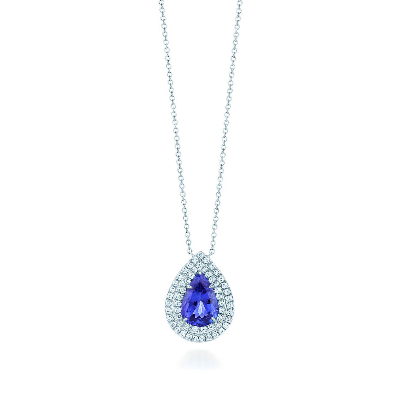c919a13a6 Tiffany Soleste Pendant In Platinum With A Pear Shaped Tanzanite. Tiffany  Cobblestone Montana Sapphire Pendant
