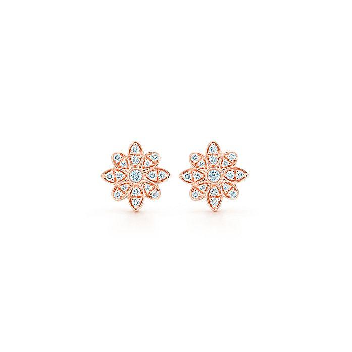 a6542ac50 Tiffany Enchant® flower earrings in 18k rose gold with diamonds ...