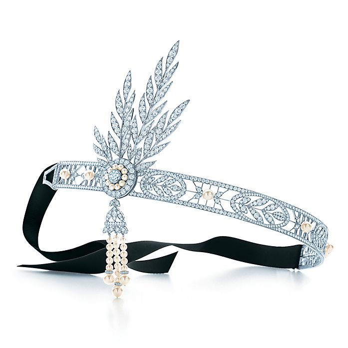 5fa320f4a The Gatsby Collection Savoy headpiece in platinum with diamonds and pearls.  | Tiffany & Co.