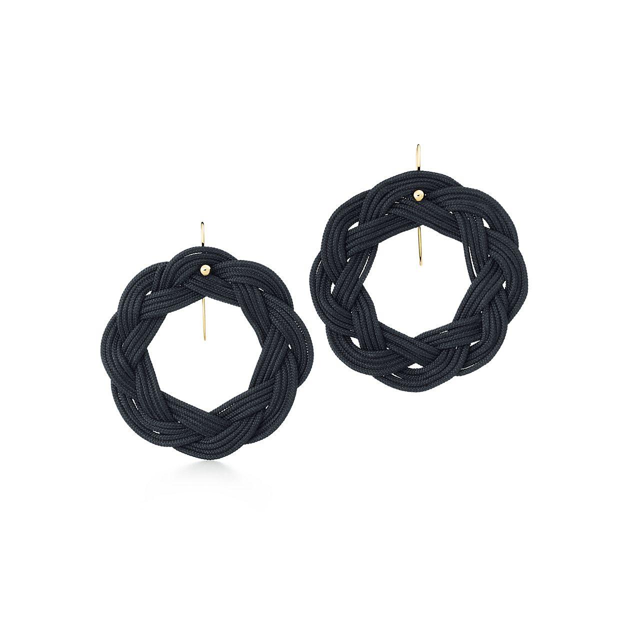 Elsa Boucles D'oreilles Crochet Cercle Peretti En Soie Tissée Noir Avec Or 18 Carats Tiffany & Co. 0Z58pCiVcG
