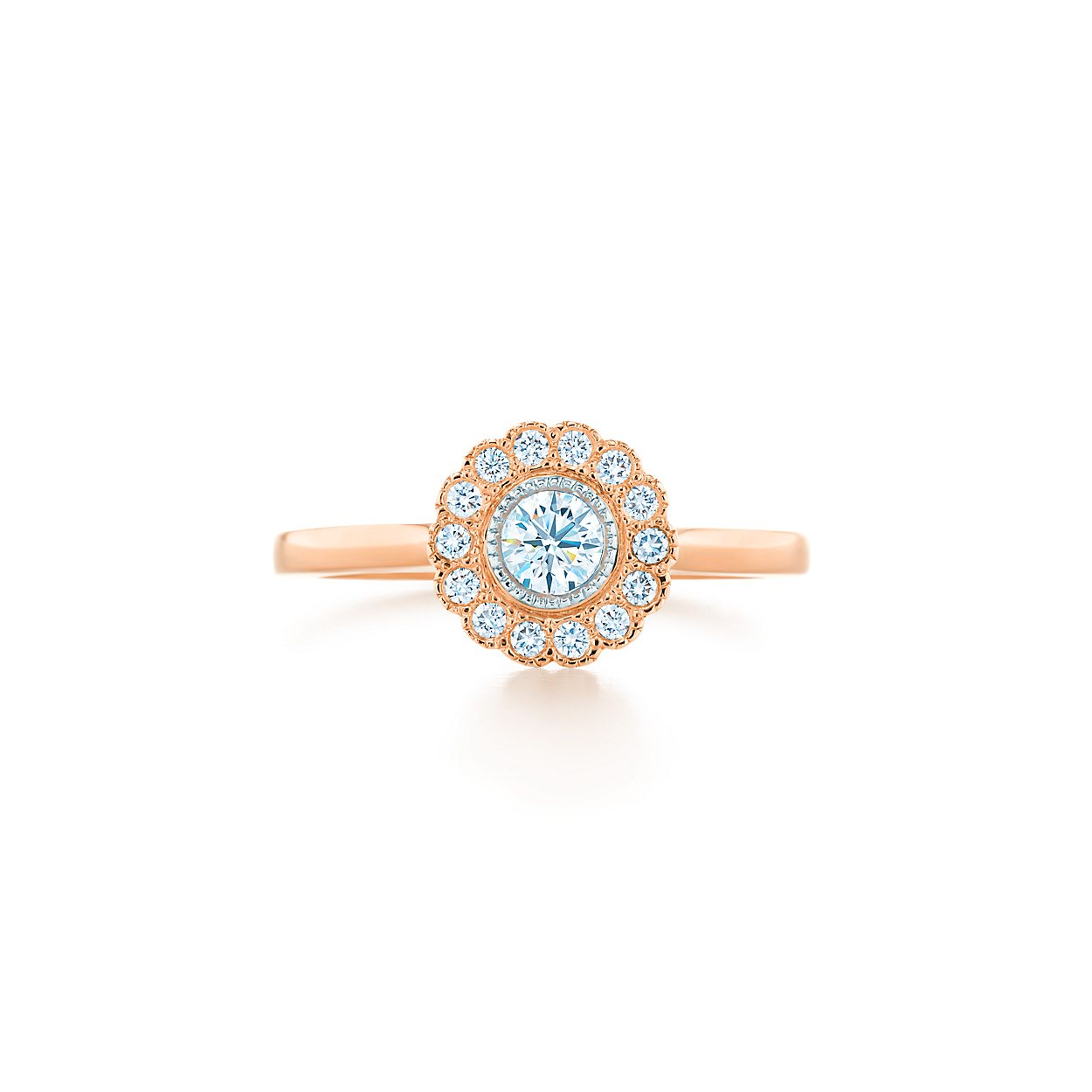 Tiffany Enchant Flower Ring In Platinum And 18k Rose Gold With