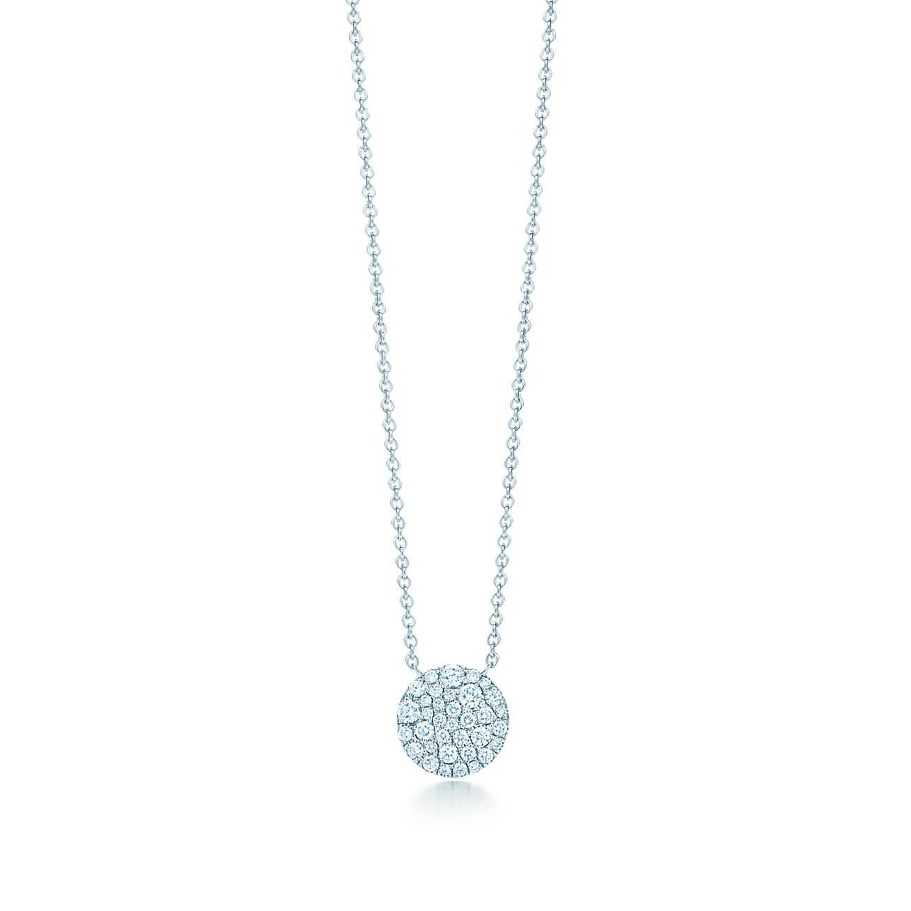 Round pendant in 18k white gold with diamonds mini tiffany co round pendant round pendant aloadofball Choice Image