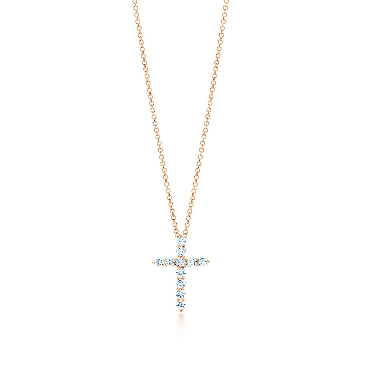 Cross pendant in 18k rose gold with diamonds small tiffany co cross pendant cross pendant mozeypictures Image collections