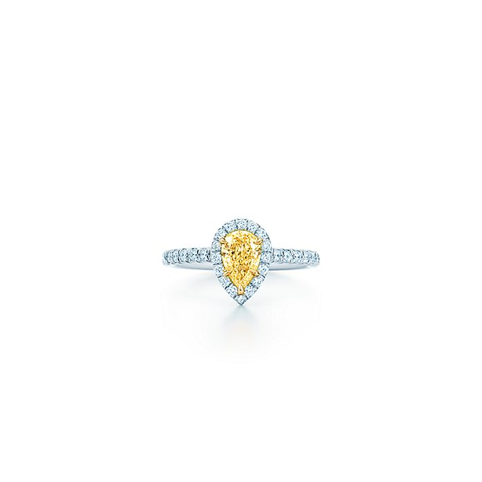 cc49f2ef3 Tiffany Soleste® pear-shaped halo engagement ring with a diamond platinum  band. | Tiffany & Co.