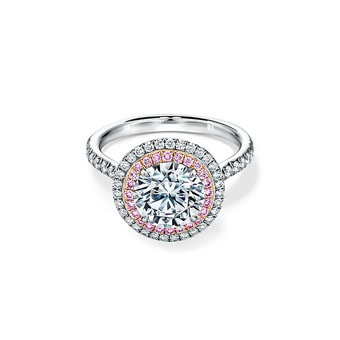 67cb67873 Tiffany Soleste double halo engagement ring with pink diamonds in platinum.  | Tiffany & Co.