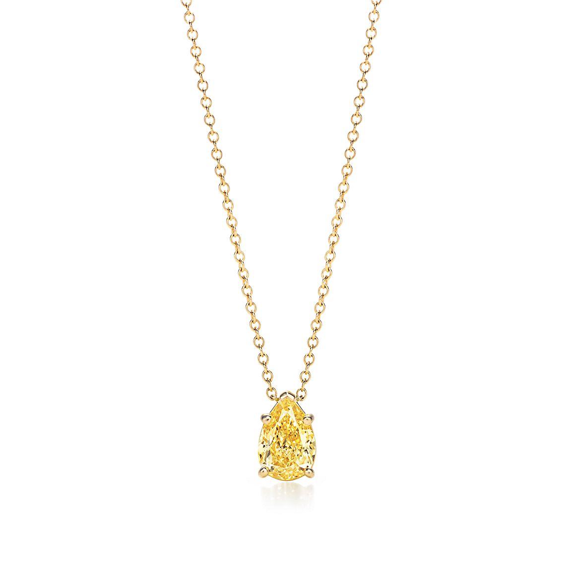 Pear Shaped Yellow Diamond Pendant by Tiffany & Co.