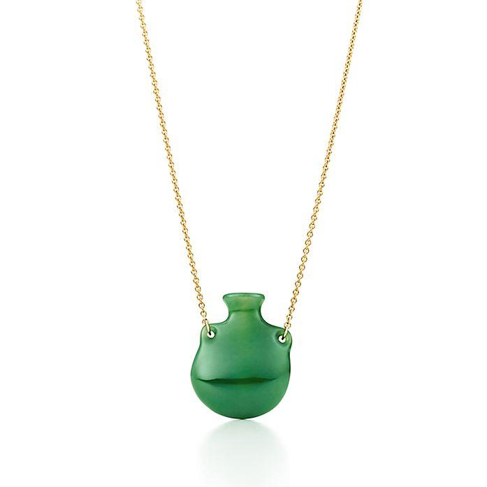 21c54e46c Elsa Peretti® Bottle green jade pendant on a gold chain, small ...