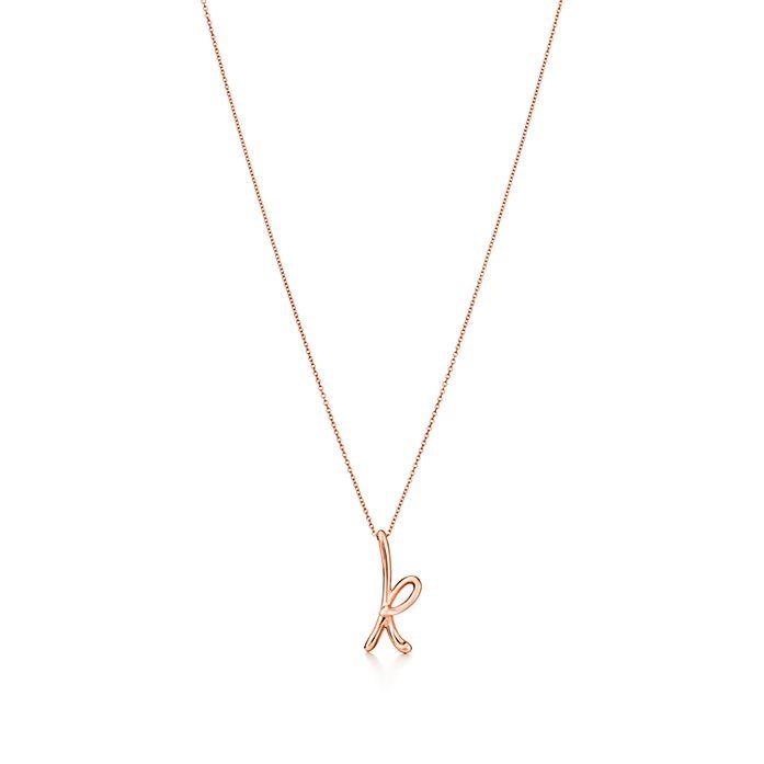 ce0c4ed2edb7c Elsa Peretti® Alphabet pendant in 18k rose gold. Letters A-Z ...