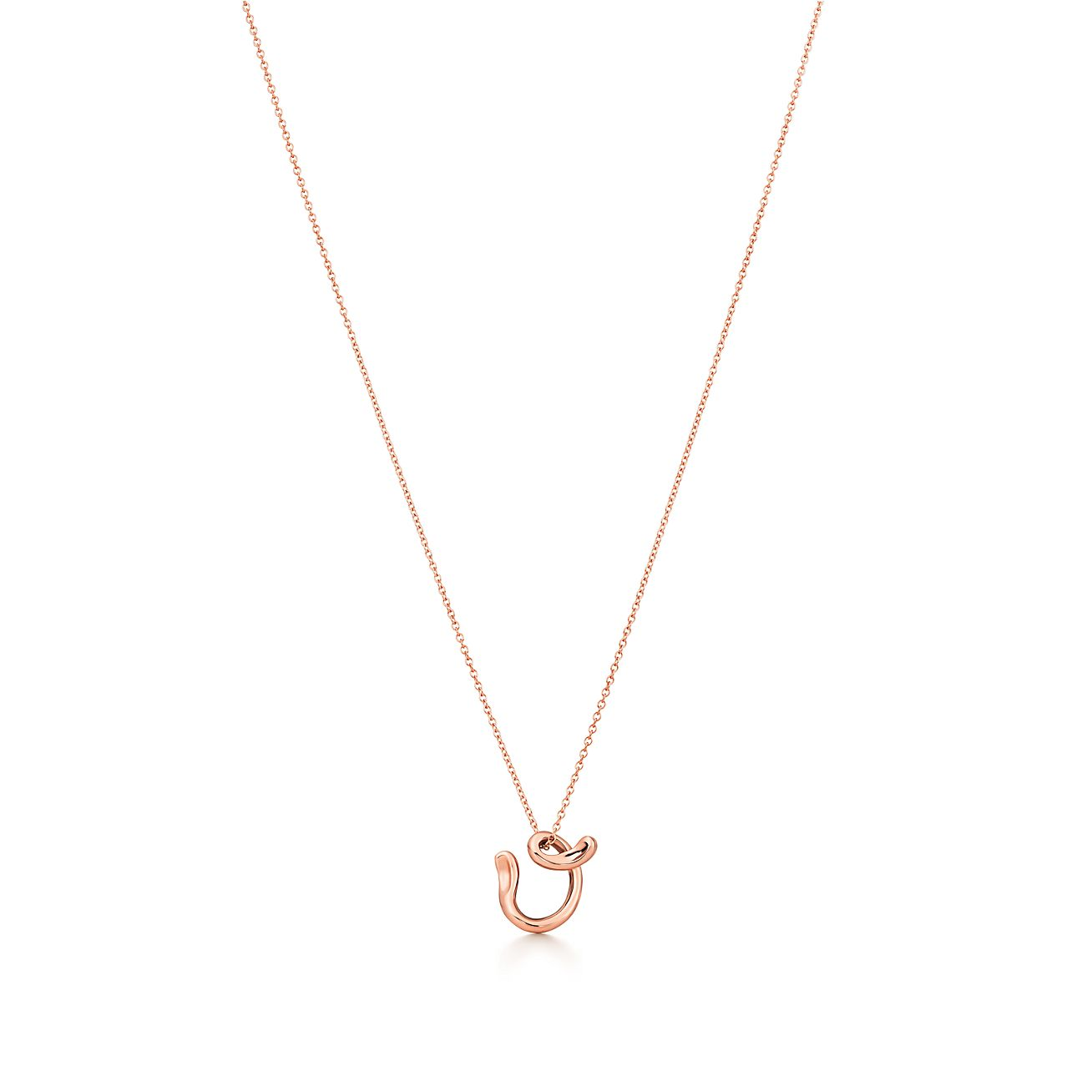 Elsa Peretti Alphabet pendant in 18k rose gold Letters A-Z available - Size W Tiffany & Co.