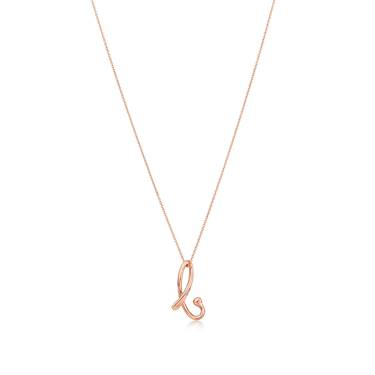 Elsa Peretti Alphabet pendant in 18k rose gold Letters A-Z available - Size J Tiffany & Co.