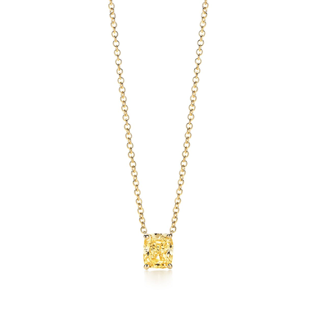 Pendant in 18k gold with a cushion cut tiffany yellow diamond cushion cut yellow diamond pendant aloadofball Gallery