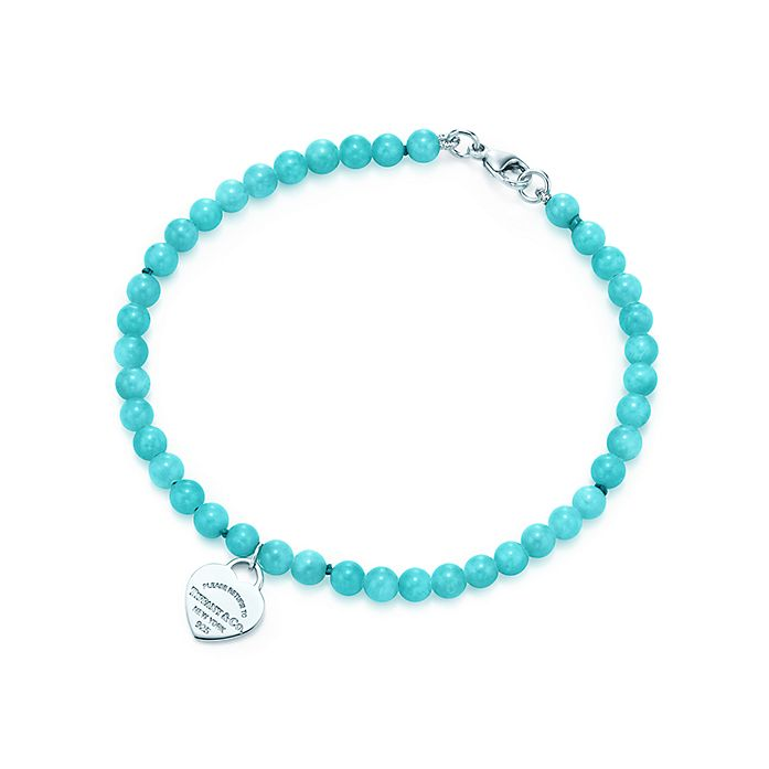 06b36d607 Return to Tiffany® mini heart tag in silver on an amazonite bead ...