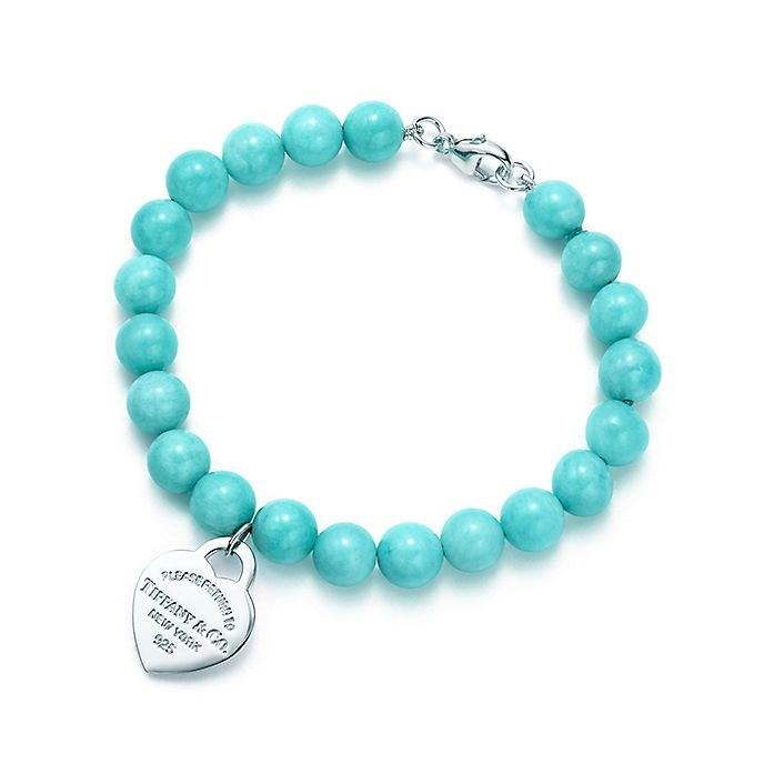 7114448b8 Return to Tiffany™ small heart tag in silver on an amazonite bead ...