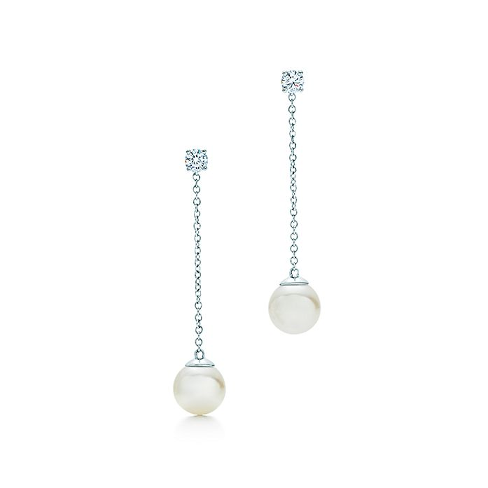 81be3334ecd31b Tiffany Signature® Pearls drop earrings in white gold with pearls ...