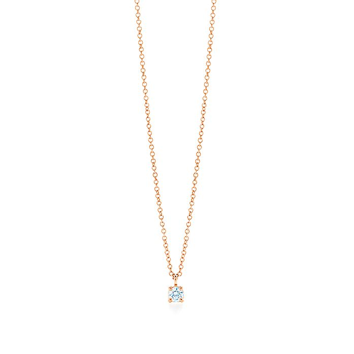 6e4c5417e Tiffany solitaire diamond pendant in 18k rose gold. | Tiffany & Co.