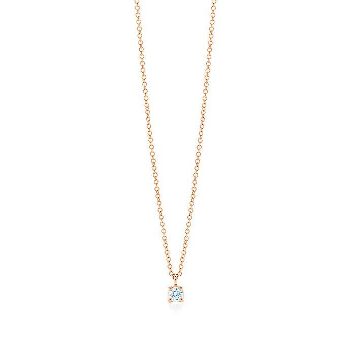 e9f2535eb Tiffany solitaire diamond pendant in 18k rose gold.   Tiffany & Co.