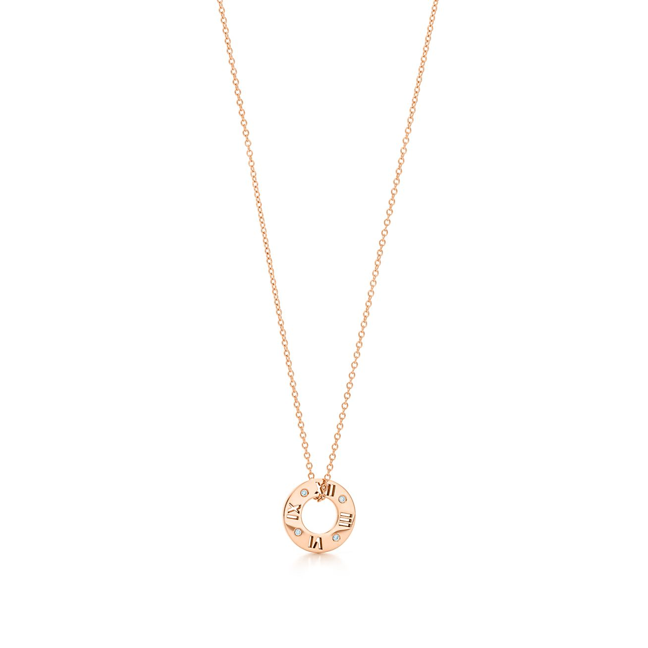 Atlas round pendant in 18k rose gold, small Tiffany & Co.