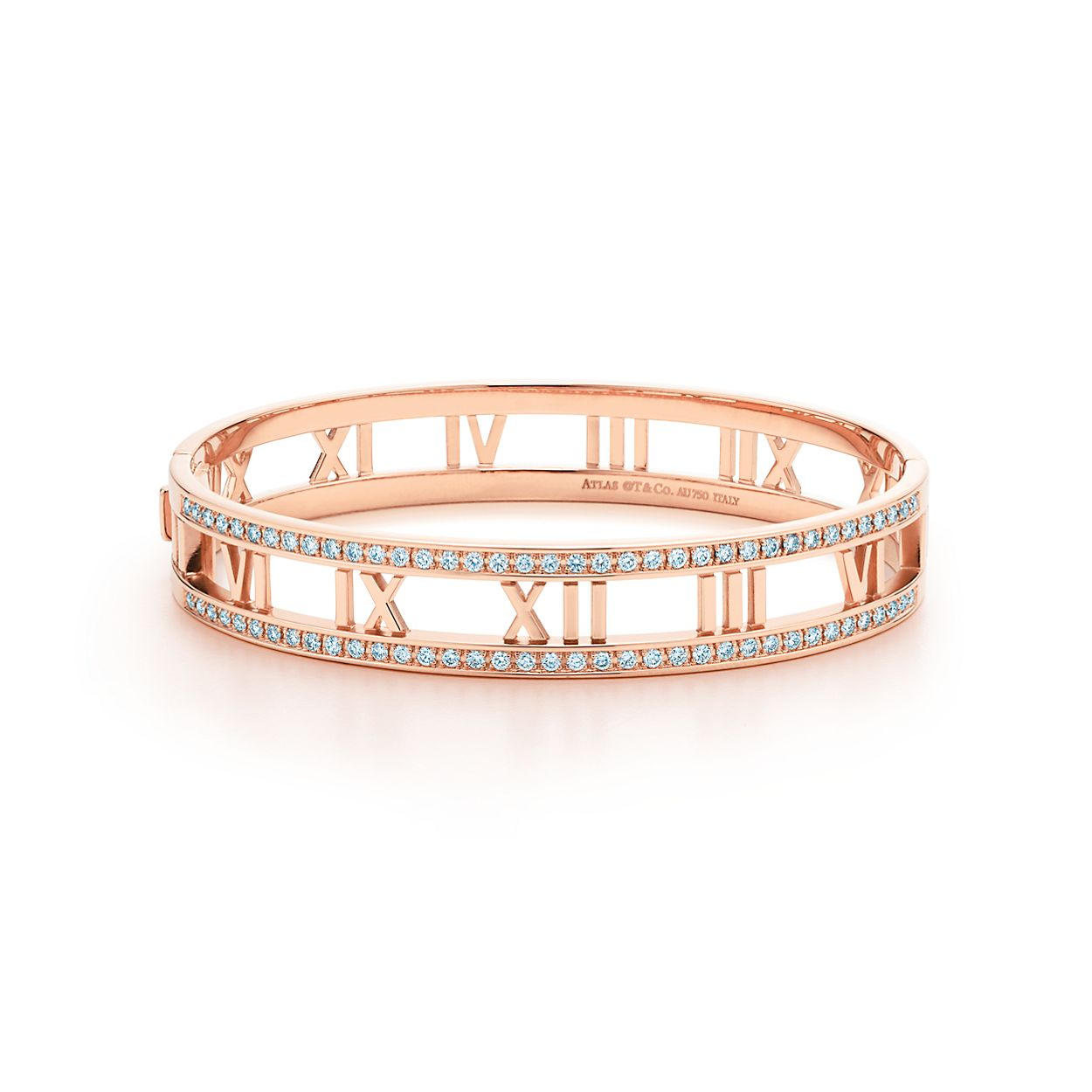574d6fe51 Atlas Open Hinged Bangle In 18k Rose Gold With Diamonds Medium. Women S  Tiffany ...