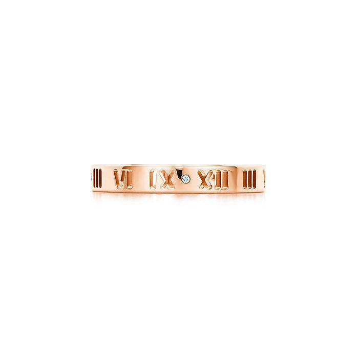 6232f8b95 Atlas™ pierced ring in 18k rose gold with diamonds.   Tiffany & Co.