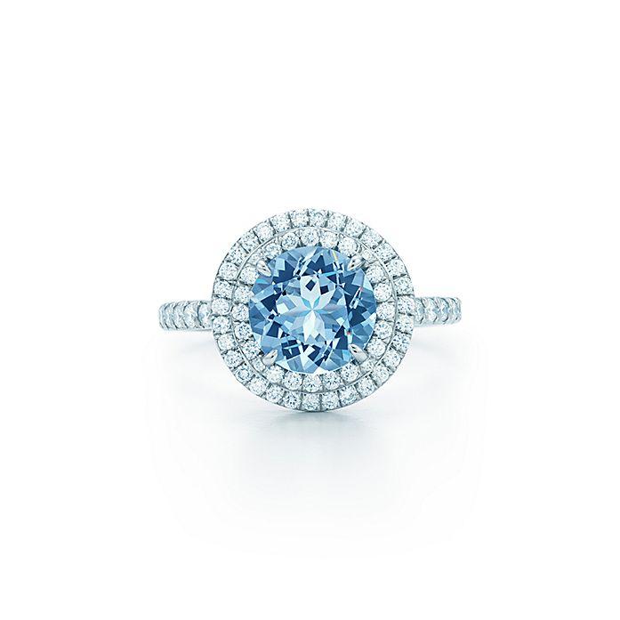 4b48c5a44 Tiffany Soleste® ring in platinum with a 1.25-carat aquamarine and ...