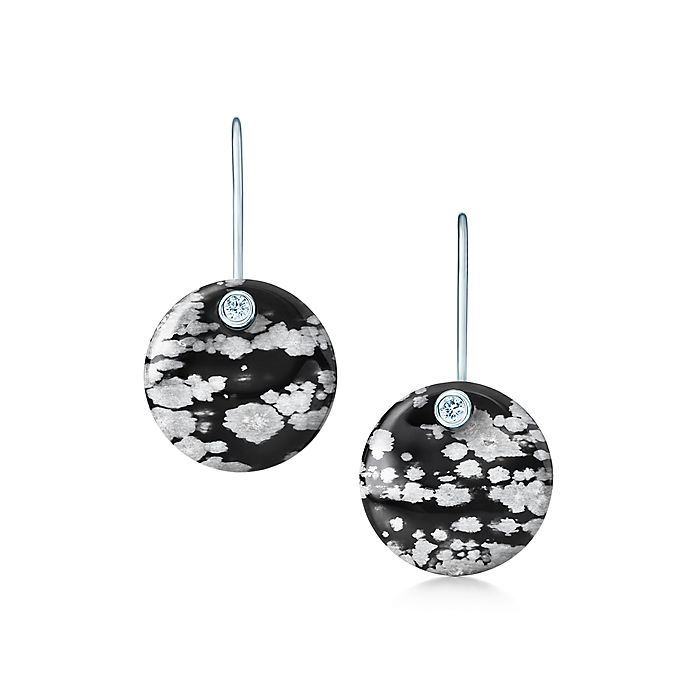 3f310457e Elsa Peretti® Round earrings of snowflake obsidian and silver with ...