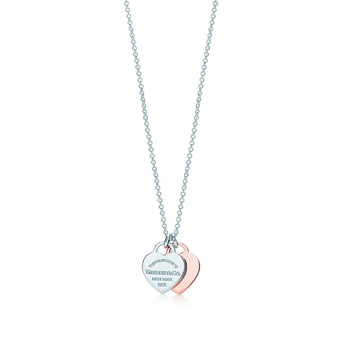 f0a28d968 Return to Tiffany™ double heart pendant in Rubedo® metal and silver ...