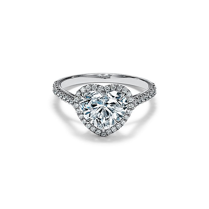 218ea32bc13 Tiffany Soleste® Heart-shaped Halo Engagement Ring with a Diamond Platinum  Band