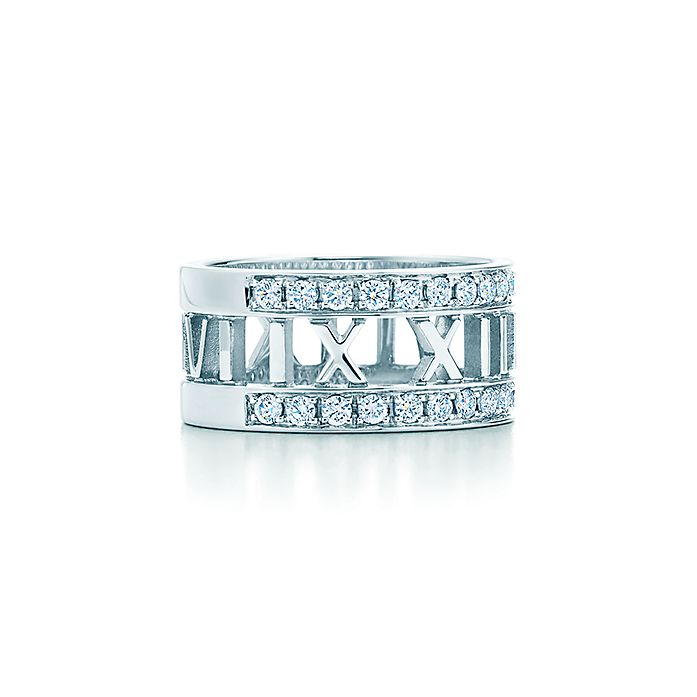 933013bec Atlas® open wide ring in 18k white gold with diamonds. | Tiffany & Co.