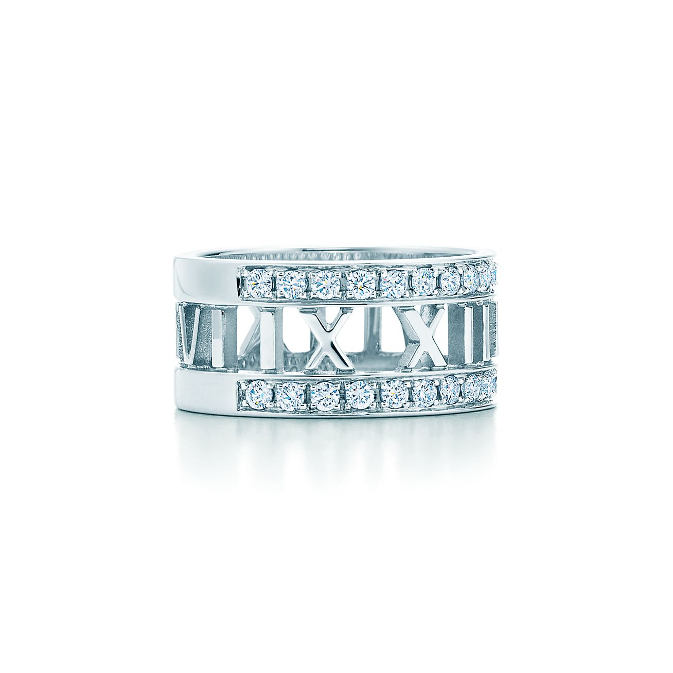 Atlas open ring in 18k white gold with diamonds - Size 7 1/2 Tiffany & Co.