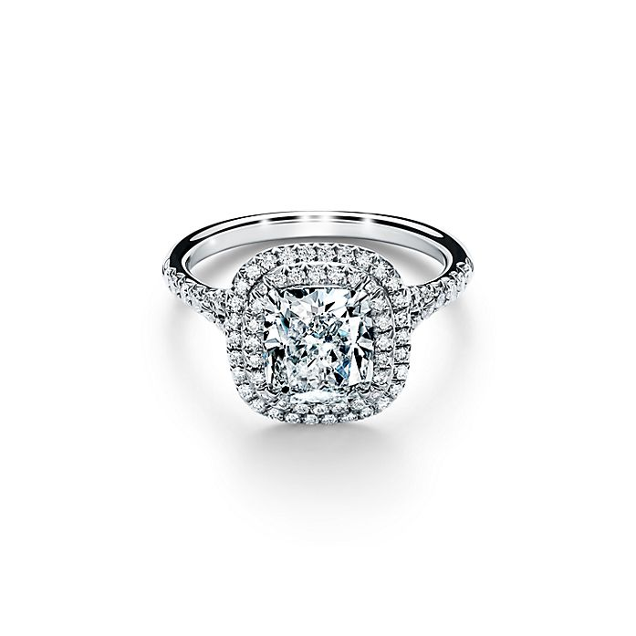 Tiffany Soleste Cushion Cut Double Halo Engagement Ring With A Diamond Platinum Band