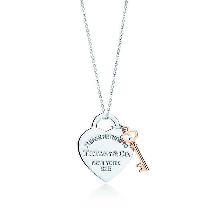 806b7dc6d Return to Tiffany® heart key pendant in silver and Rubedo® metal ...
