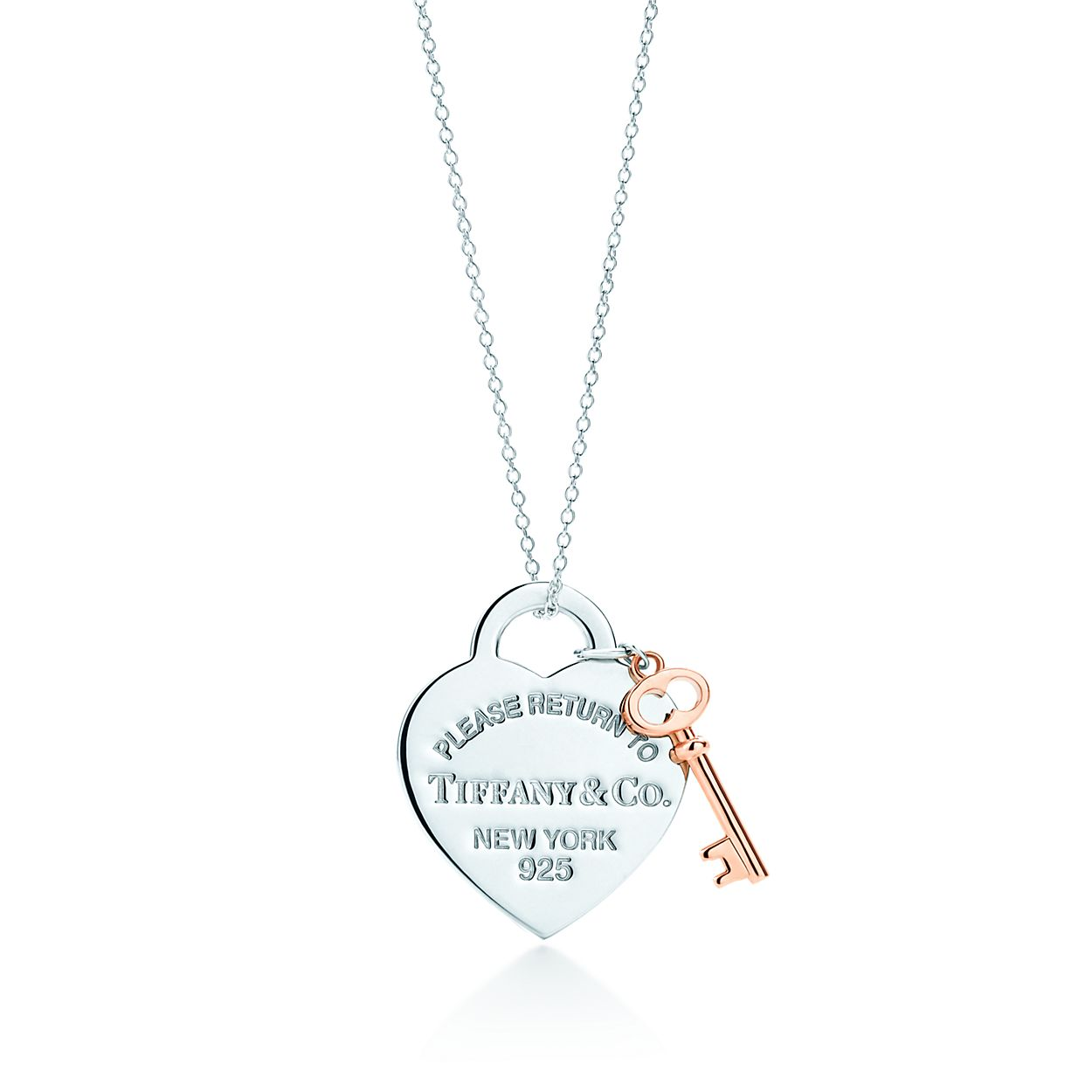 Return to Tiffany medium heart tag with key pendant in sterling silver - Size 16 in Tiffany & Co. wv5KSU2U90