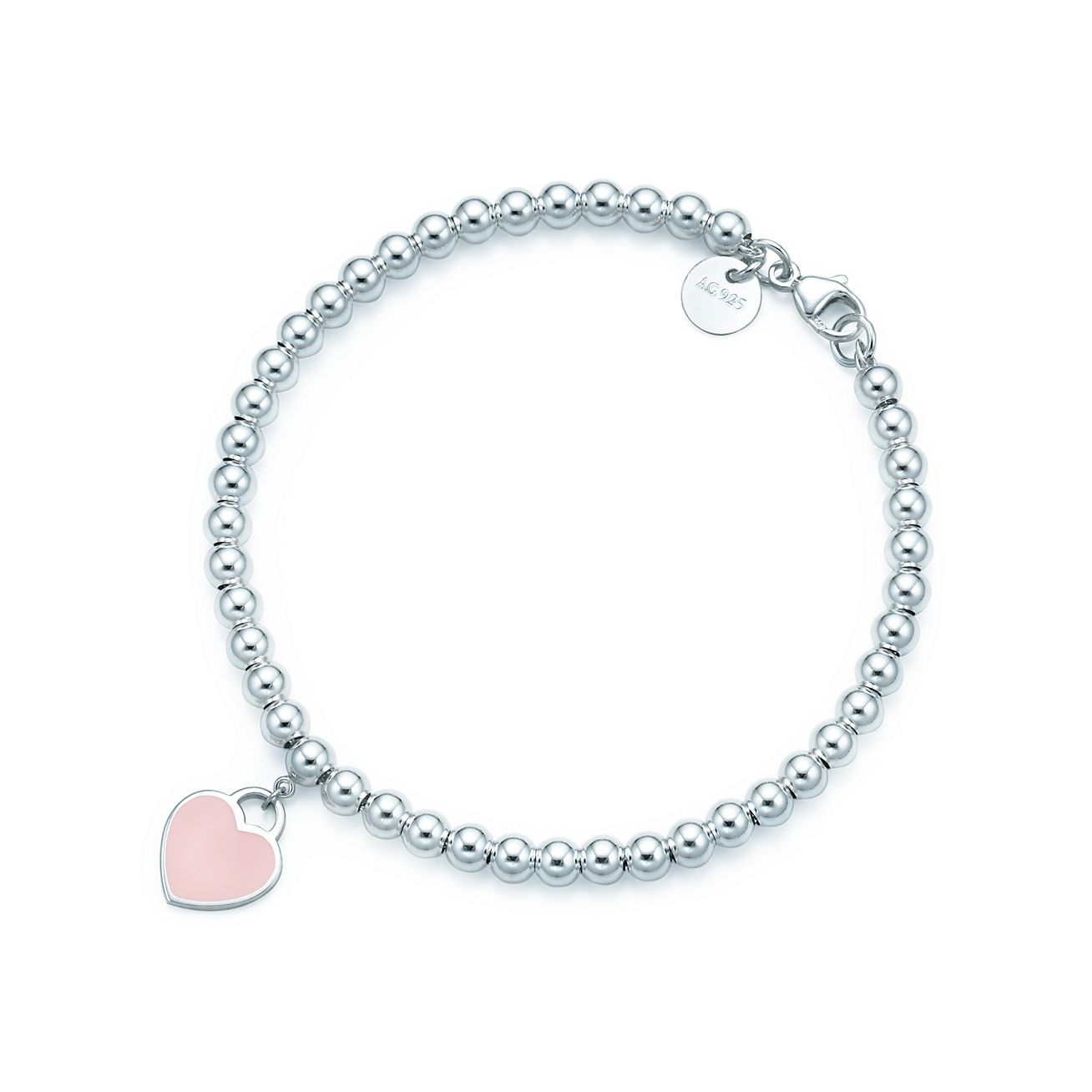 Return to Tiffany® bead bracelet in silver with pink enamel finish ... 17c373bb515