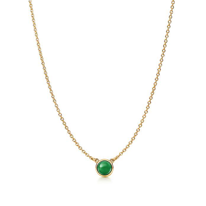 aa344e9aab428 Elsa Peretti® Cabochon pendant in 18k gold with green jade ...