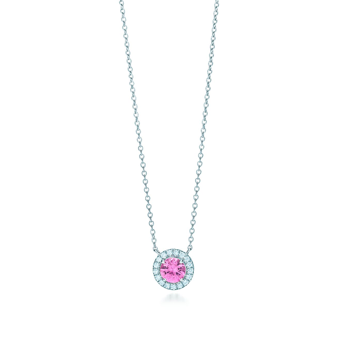 cz round platinum double halo sapphire plated accent pink sterling silver pendant necklace