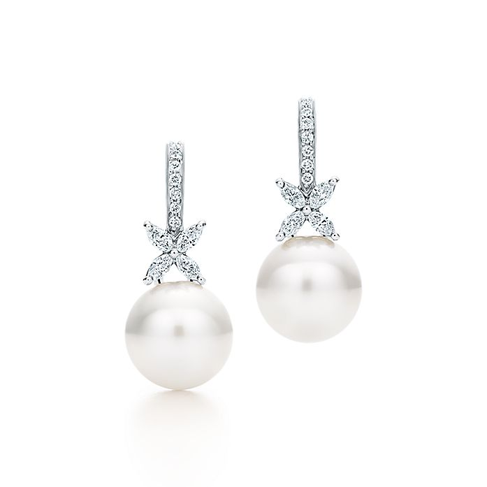 ace2de703 Tiffany Victoria® earrings in platinum with South Sea pearls and ...